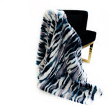 Plutus Blue, Black, White  Fancy Faux Fur Luxury Throw Blanket