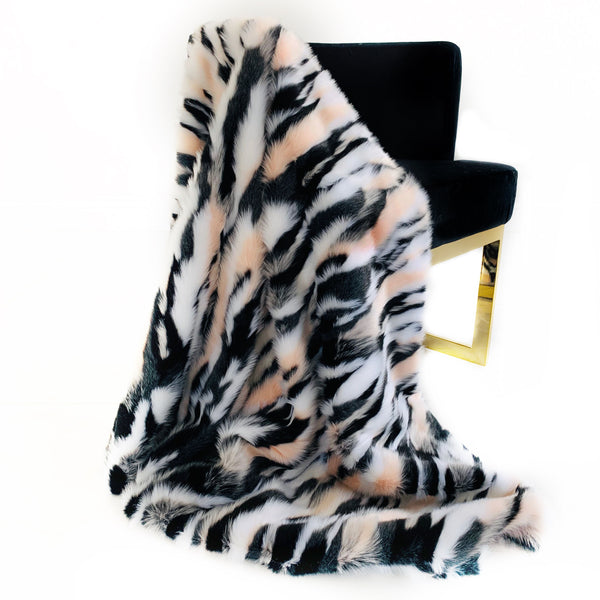 Plutus Black, White, Pink  Fancy Faux Fur Luxury Throw Blanket