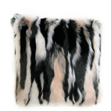 Plutus Black, White, Pink Fancy Animal Faux Fur Luxury Throw Pillow