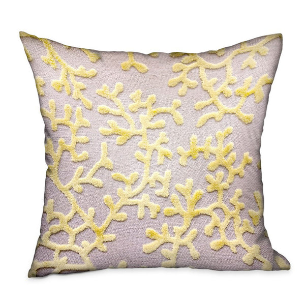 Lemon Reef Yellow, Cream Floral Luxury Throw Pillow
