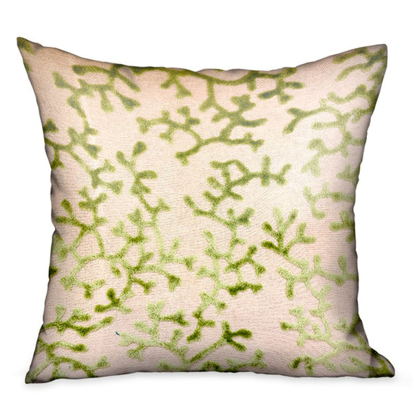 Sage Reef Apple Green Floral Luxury Throw Pillow