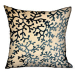 Deep Blue Reef Blue, cream Floral Luxury Throw Pillow