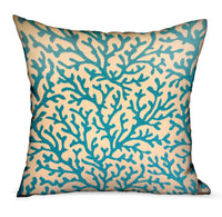 Marlin Vines Blue, cream Floral Luxury Throw Pillow