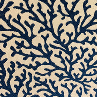 Sapphire Vines Blue, cream Floral Luxury Throw Pillow