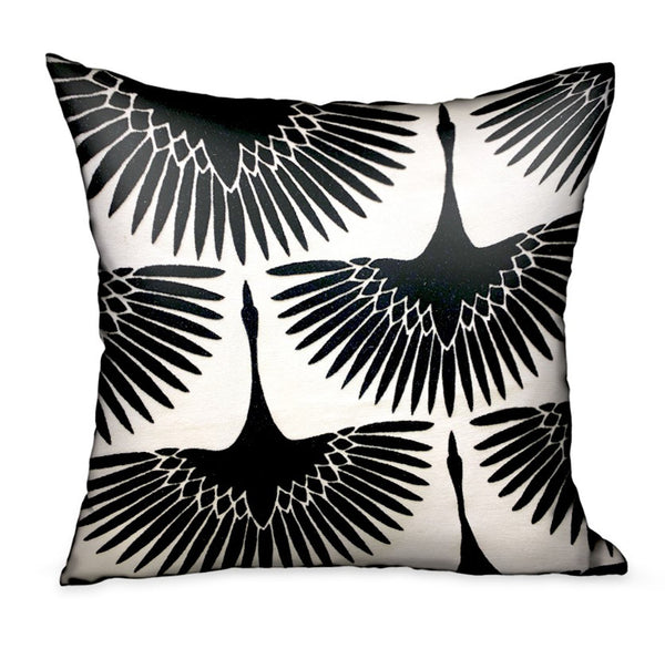 Black Swan Black Animal Motif Luxury Throw Pillow