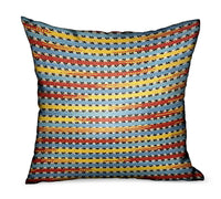 Vivid Stripe Red, Blue, Yellow Stripes Luxury Outdoor/Indoor Throw Pillow