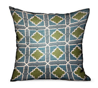 Shamrock Gem Blue, Green Geometric Luxury Outdoor/Indoor Throw Pillow