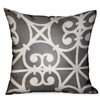 Abalone Truffle Gray Chevron Luxury Outdoor/Indoor Throw Pillow