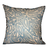 Serene Oasis Blue, Cream Floral Luxury Outdoor/Indoor Throw Pillow