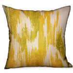 Saffron Love Yellow Ikat Luxury Outdoor/Indoor Throw Pillow