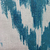 Teal Avalanche Blue Ikat Luxury Outdoor/Indoor Throw Pillow