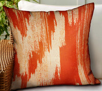 Tangelo Avalanche Orange Ikat Luxury Outdoor/Indoor Throw Pillow