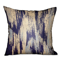Ocean Avalanche Blue Ikat Luxury Outdoor/Indoor Throw Pillow