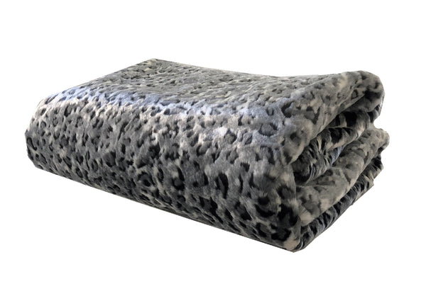 Snow Leopard Faux Fur Gray Luxury Throw