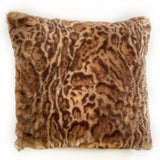Plutus Brown, Beige Jungle Cat Animal Faux Fur Luxury Throw Pillow