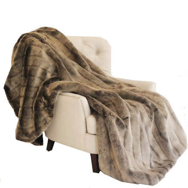 Frost Mink Dark Brown Faux Fur Luxury Throw