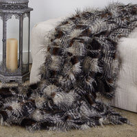 Porcupine Dark Brown and Beige Faux Fur Luxury Throw