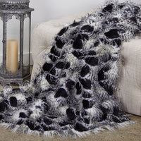 Porcupine Black and White Faux Fur Luxury Throw