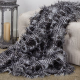 Porcupine Grey and Silver Faux Fur Luxury Throw