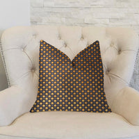 Aliza Gold and Gray Luxury Throw Pillow