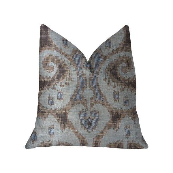 Paragon Brown, Blue and Beige Luxury Throw Pillow