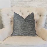 Dusky Veined  Silver and Taupe Luxury Throw Pillow