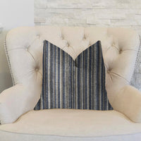New Hampton  Ivory and Blue Luxury Throw Pillow