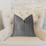 Parallel Lanes Blue, Beige and Brown Luxury Throw Pillow