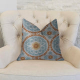 Sunset Cottage Orange, Blue and Ivory Luxury Throw Pillow