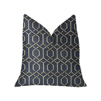 Midnight Padlock Blue, Black and Beige Luxury Throw Pillow