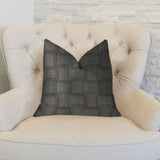 Licorice Black Artificial Leather Luxury Throw Pillow