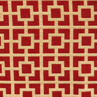 Crimson Square Red and Beige Luxury Throw Pillow