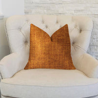 Marmalade Brown and Gold Luxury Throw Pillow
