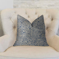 Kingston Waverly Blue and Ivory Luxury Throw Pillow