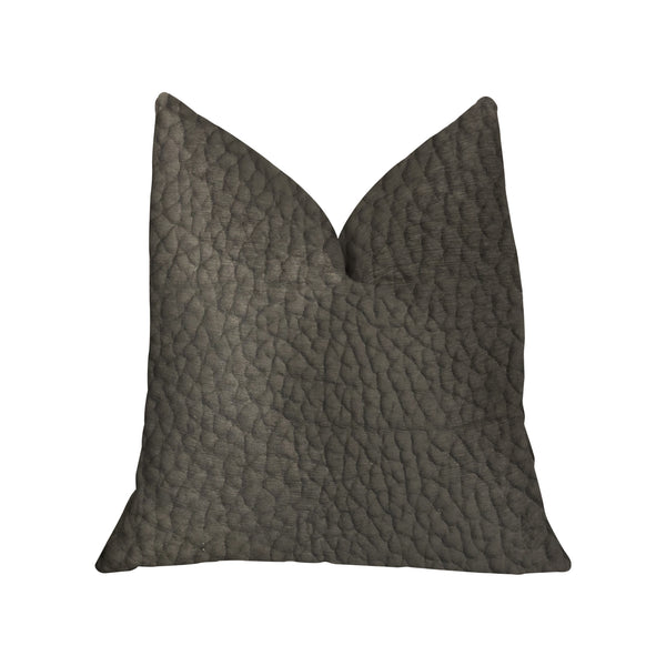 Modern Black Black Artificial Leather Luxury Throw Pillow
