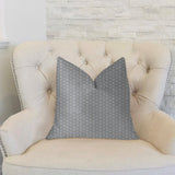 Myriad Hexagon  Blue and Beige Luxury Throw Pillow