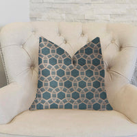 Pineapple Slice Blue and Beige Luxury Throw Pillow