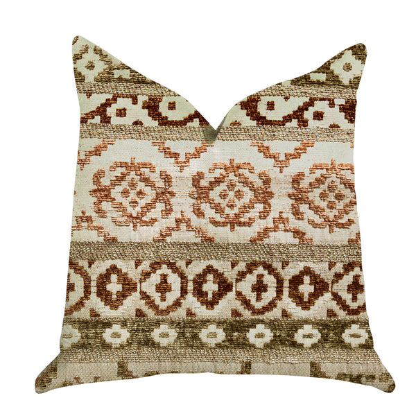 Arabesque Shades of Brown Luxury Throw Pillow