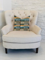 Timber Blue and Beige Textured Luxury Throw Pillow