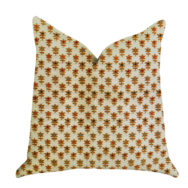 Rosy Posse Orange and Tan Floral Luxury Throw Pillow