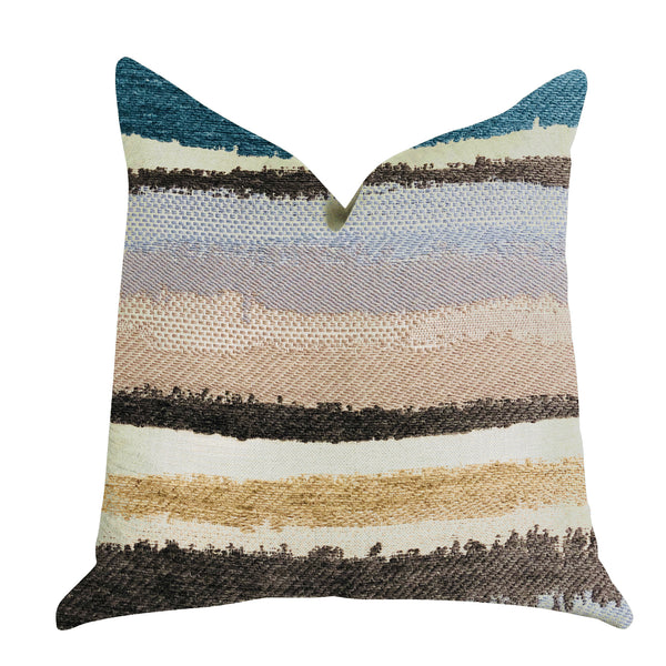 Blue Stone River Sand Multi Color Luxury Throw Pillow