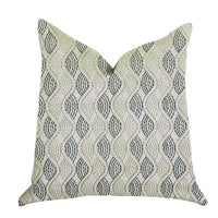 Enigma Twist Luxury Throw Pillow in Blue, Beige Colors