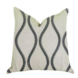 Bella Curve Green and Beige Luxury Throw Pillow