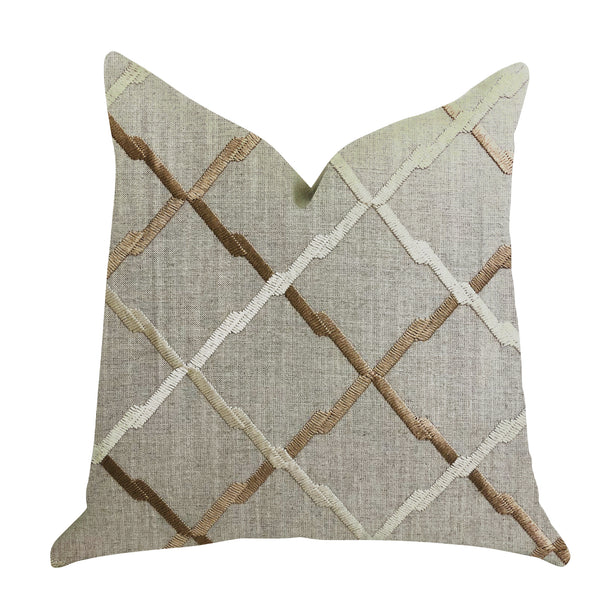 Urban Square Brown and Beige Luxury Throw Pillow