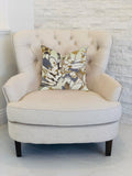 Camellia Floral Blue, Beige Tones Luxury Throw Pillow