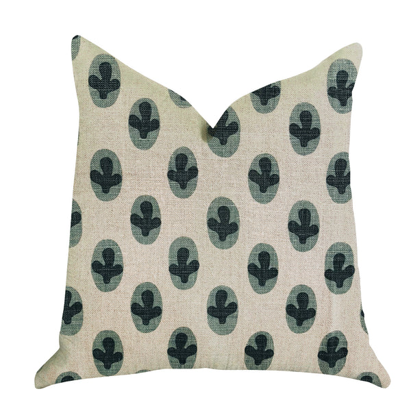 Cacti Pear in Green and Beige Color Luxury Throw Pillow
