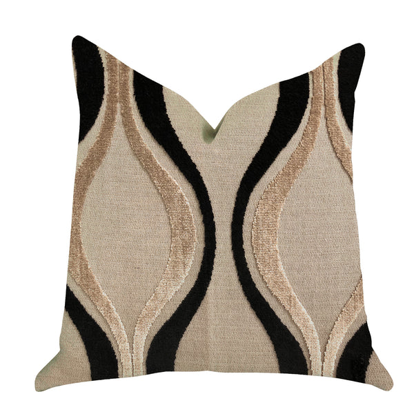 Misty Belvedere Luxury Throw Pillow in Brown and Black Tones