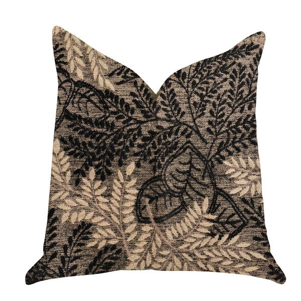 Bonzai Ebony Floral Throw Pillow in Black and Brown