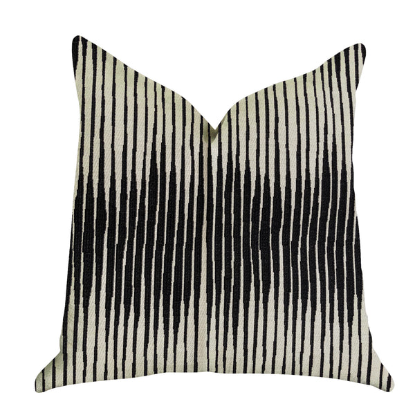 Black Crystal Luxury Throw Pillow in Black and Beige Tones