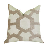 Linked Charisma Luxury Throw Pillow in Beige and Brown Tones